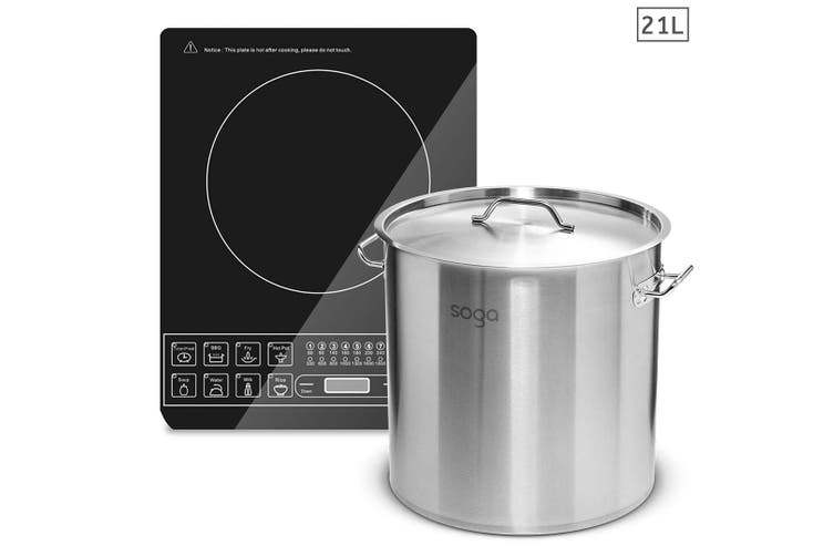 SOGA Electric Smart Induction Cooktop and 21L Stainless Steel Stockpot 30cm Stock Pot
