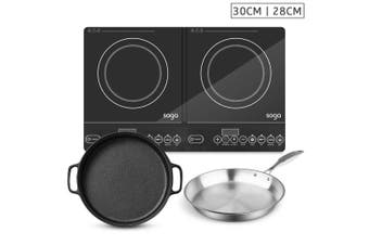 SOGA Dual Burners Cooktop Stove, 30cm Cast Iron Frying Pan Skillet and 28cm Induction Fry Pan