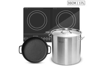 SOGA Dual Burners Cooktop Stove, 30cm Cast Iron Skillet and 17L Stainless Steel Stockpot 28cm