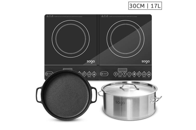 SOGA Dual Burners Cooktop Stove, 30cm Cast Iron Skillet and 17L Stainless Steel Stockpot