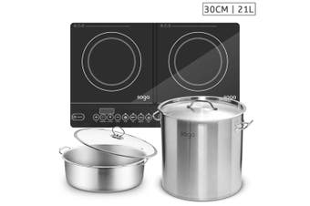 SOGA Dual Burners Cooktop Stove, 21L Stainless Steel Stockpot 30cm and 30cm Induction Casserole