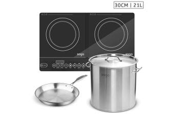 SOGA Dual Burners Cooktop Stove, 21L Stainless Steel Stockpot 30cm and 30cm Induction Fry Pan