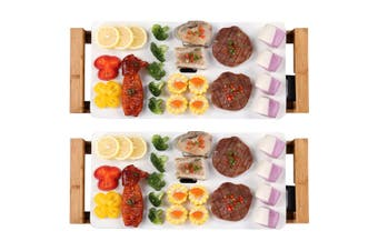 SOGA 2X Electric Ceramic BBQ Grill Non-stick Surface Hot Plate for Indoor & Outdoor White