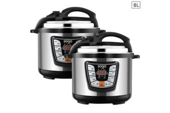 SOGA 2X Stainless Steel Electric Pressure Cooker 8L Nonstick 1600W