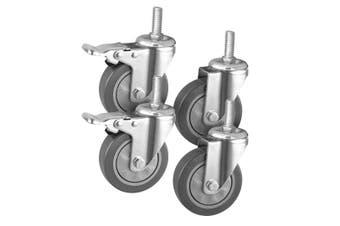 "SOGA 4"" Heavy Duty Polyurethane Swivel Castor Wheels with 2 Lock Brakes Casters"