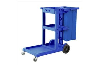 SOGA 3 Tier Multifunction Janitor Cleaning Waste Cart Trolley and Waterproof Bag Blue