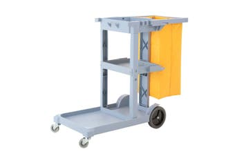 SOGA 3 Tier Multifunction Janitor Cleaning Waste Cart Trolley and Waterproof Bag