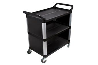 SOGA 3 Tier Covered Food Trolley Food Waste Cart Storage Mechanic Kitchen Black