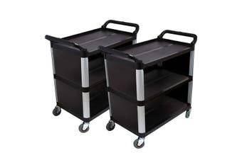 SOGA 2X 3 Tier Covered Food Trolley Food Waste Cart Storage Mechanic Kitchen Black