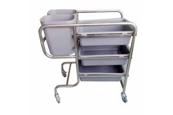 SOGA 3 Tier 81x43x87cm Food Trolley Food Waste Cart Five Buckets Kitchen Food Utility Round