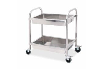 SOGA 2 Tier 85x45x90cm Stainless Steel Kitchen Trolley Bowl Collect Service Food Cart Medium