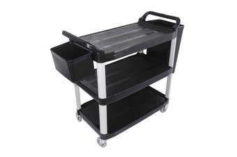 SOGA 3 Tier 83x43x95cm Food Trolley Food Waste Cart With Two Bins Storage Kitchen Black Small
