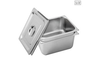 SOGA 2X Gastronorm GN Pan Full Size 1/2 GN Pan 20cm Deep Stainless Steel Tray With Lid