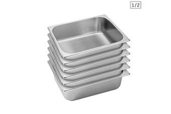 SOGA 6X Gastronorm GN Pan Full Size 1/2 GN Pan 10cm Deep Stainless Steel Tray