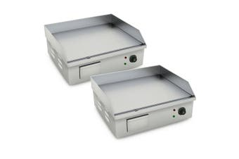 SOGA 2X Electric Stainless Steel Flat Griddle Grill BBQ Hot Plate 2200W