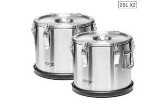 SOGA 2x 304 30X29cm Stainless Steel Insulated Food Carrier Food Warmer