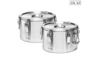 SOGA 2x 304 10L Stainless Steel Insulated Food Carrier Food Warmer