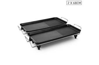 SOGA 2X 68cm Electric BBQ Grill Teppanyaki Plate Non-Stick Surface Hot Plate Kitchen 6-8 Person