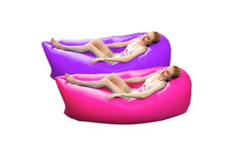 2X Fast Inflatable Sleeping Bag Lazy Air Sofa Pink/Purple