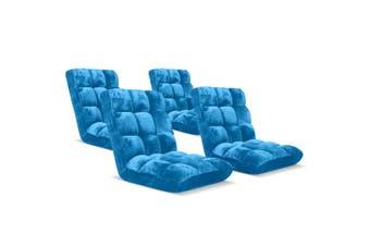 SOGA Floor Recliner Folding Lounge Sofa Futon Couch Folding Chair Cushion Blue x4