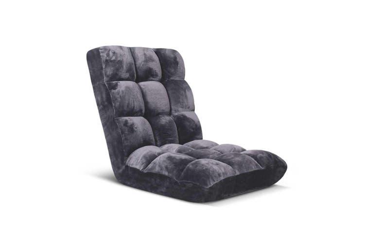 SOGA Floor Recliner Folding Lounge Sofa Futon Couch Folding Chair Cushion Grey