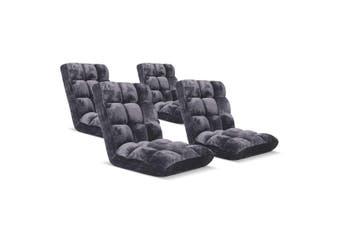 SOGA Floor 4x Recliner Folding Lounge Sofa Futon Couch Folding Chair Cushion Grey