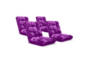 SOGA Floor Recliner Folding Lounge Sofa Futon Couch Folding Chair Cushion Purple x4
