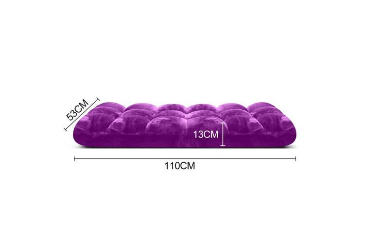 SOGA Floor Recliner Folding Lounge Sofa Futon Couch Folding Chair Cushion Purple x4