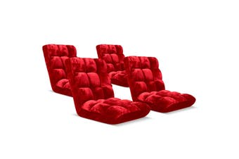 SOGA Floor Recliner Folding Lounge Sofa Futon Couch Folding Chair Cushion Red x4