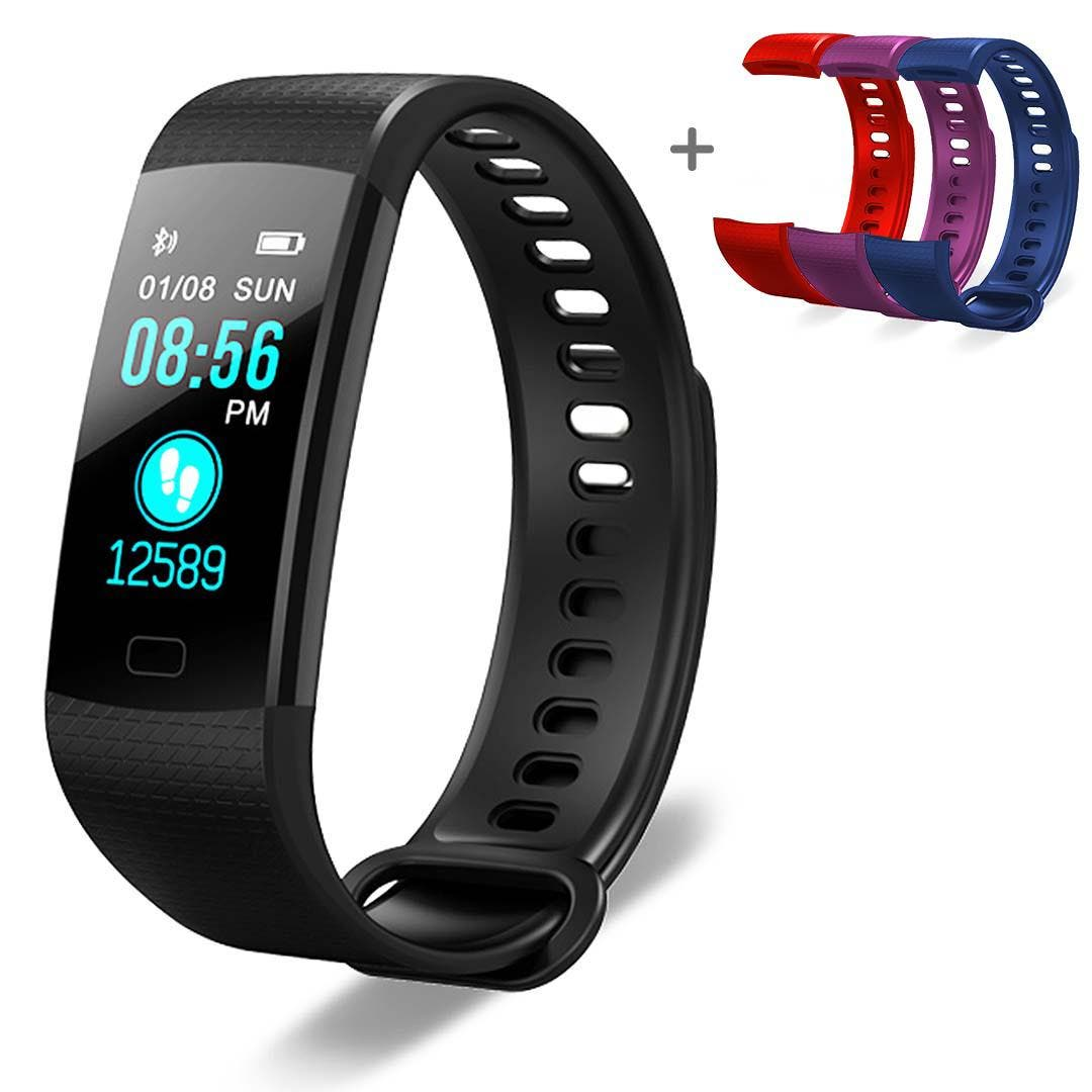 "SOGA Sport Smart Watch Health Fitness Tracker With 3X Adjustable Wrist Band Strap Features:  Multi-functional intelligent monitoring your daily life, all concentrate on your wrist. The built-in multi-dial interface is designed to allow you to customize the background. You can set and switch freely. You can check your messages easily. Whether it's a phone call or a message from a social media platform, all will be displayed on your smart bracelet. This new bracelet supports the storage of three short messages Vibration reminder: When there is a phone call, the bracelet will remind you with ""light vibration + display Caller's name or phone number"" on the wrist. If you don't want to answer the call, long press the bracelet to reject it. Adopt imported heart rate sensor, accurate heart rate monitoring. The 24hrs heart rate checking data on your wrist can be checked at any time, offering you 24hrs health care. Keep aware of your blood pressure status and improve your blood pressure control rate so as to prevent cardiovascular disease. Various sport modes like running, cycling, basketball, walking, etc. The sports data is visible in real time so you know how to adjust your sport status at any time to achieve better results. IP67 dustproof and waterproof Automatic monitoring of sleep data to easily control your sleep quality. The whole process of automatic monitoring of your sleep will be synchronized to GloryFit and the App. Environment protective breathable material is used for the new colorful strap. It's designed to be quick-disassembled which can be replaced quickly matches your style preferences. Built-in 150mAh polymer lithium battery that can be plugged directly into the computer USB interface for charging. All functions support Android 4.4 and up, iOS 8.0 and up smartphones.  Specifications:  Dimension: L*W*H = 40.3*22.3*11.95mm Weight: 25g Screen Size: 1.14 Resolution: 240*135 Capacity: 150mAh Charging Time: 2H Flash Memory: 64Mbit Type: TFT  Usage:  Sports Daily activities  Package Includes:  1x Smart Watch 3x Wristband 1x User manual"