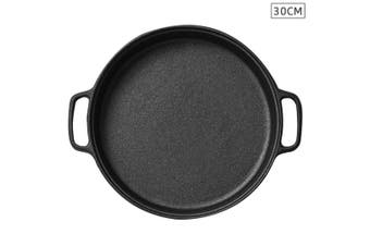 Cast Iron 30cm Frying Pan Skillet Non-stick Coating Steak Sizzle Platter
