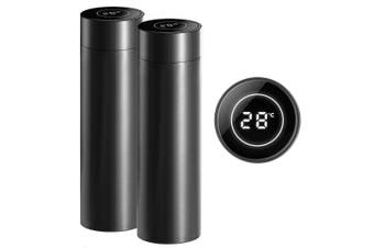 SOGA 2X 500ML Stainless Steel Smart LCD Thermometer Display Bottle Vacuum Flask Thermos Black