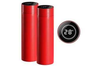SOGA 2X 500ML Stainless Steel Smart LCD Thermometer Display Bottle Vacuum Flask Thermos Red