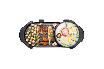 SOGA 2 in 1 Electric Non-Stick BBQ Teppanyaki Grill Plate Steamboat Hotpot 2-8 Person