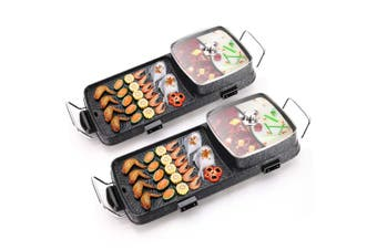SOGA 2X 2  in 1 Electric BBQ Grill Teppanyaki and Steamboat Hotpot Asian Hot Pot