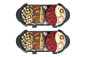 SOGA 2X 2  in 1 Electric Non-Stick BBQ Teppanyaki Grill Plate Steamboat Hotpot 2-8 Person