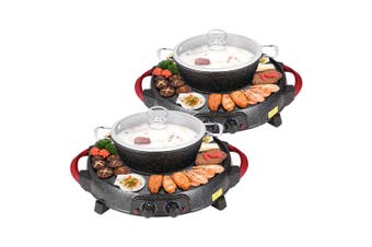 SOGA 2X 2  in 1 Electric Stone Coated Teppanyaki Grill Plate Steamboat Hotpot