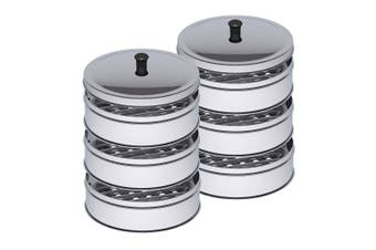 SOGA 2X 3 Tier Stainless Steel Steamers With Lid Work inside of Basket Pot Steamers 22cm