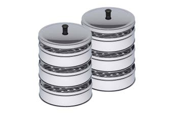SOGA 2X 3 Tier Stainless Steel Steamers With Lid Work inside of Basket Pot Steamers 25cm