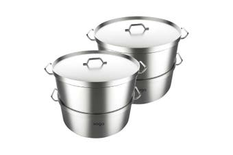 SOGA 2X Commercial 304 Stainless Steel Steamer With 2 Tiers Top Food Grade 40*26cm
