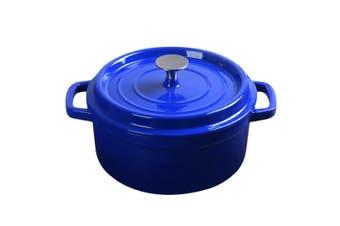 SOGA Cast Iron 24cm Enamel Porcelain Stewpot Casserole Stew Cooking Pot With Lid 3.6L Blue