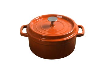 SOGA Cast Iron 24cm Enamel Porcelain Stewpot Casserole Stew Cooking Pot With Lid 3.6L Orange