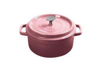 SOGA Cast Iron 24cm Enamel Porcelain Stewpot Casserole Stew Cooking Pot With Lid 3.6L Pink
