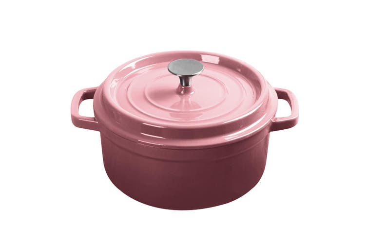 SOGA Cast Iron 24cm Enamel Porcelain Stewpot Casserole Stew Cooking Pot With Lid 3.6L Pink