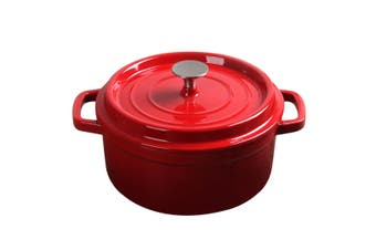 SOGA Cast Iron Enamel 24cm Porcelain Stewpot Casserole Stew Cooking Pot With Lid 3.6L Red