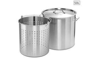 SOGA 50L 18/10 Stainless Steel Stockpot with Perforated Stock pot Basket Pasta Strainer
