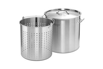 SOGA 130L 18/10 Stainless Steel Stockpot with Perforated Stock pot Basket Pasta Strainer