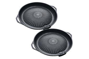 SOGA 2x Portable Korea BBQ Butane Gas Stove Stone Grill Pot Non Stick Coated Round Plate