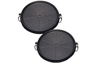 SOGA 2x Portable Korean BBQ Butane Gas Stove Stone Grill Plate Non Stick Coated Round