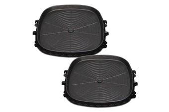 SOGA 2x Portable Korean BBQ Butane Gas Stove Stone Grill Plate Non Stick Coated Square